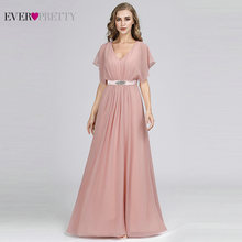 Pink Evening Dresses Long Ever Pretty EZ07717 Elegant A-line Chiffon Short Sleeve V-neck Sash Beaded Gown robe de soiree