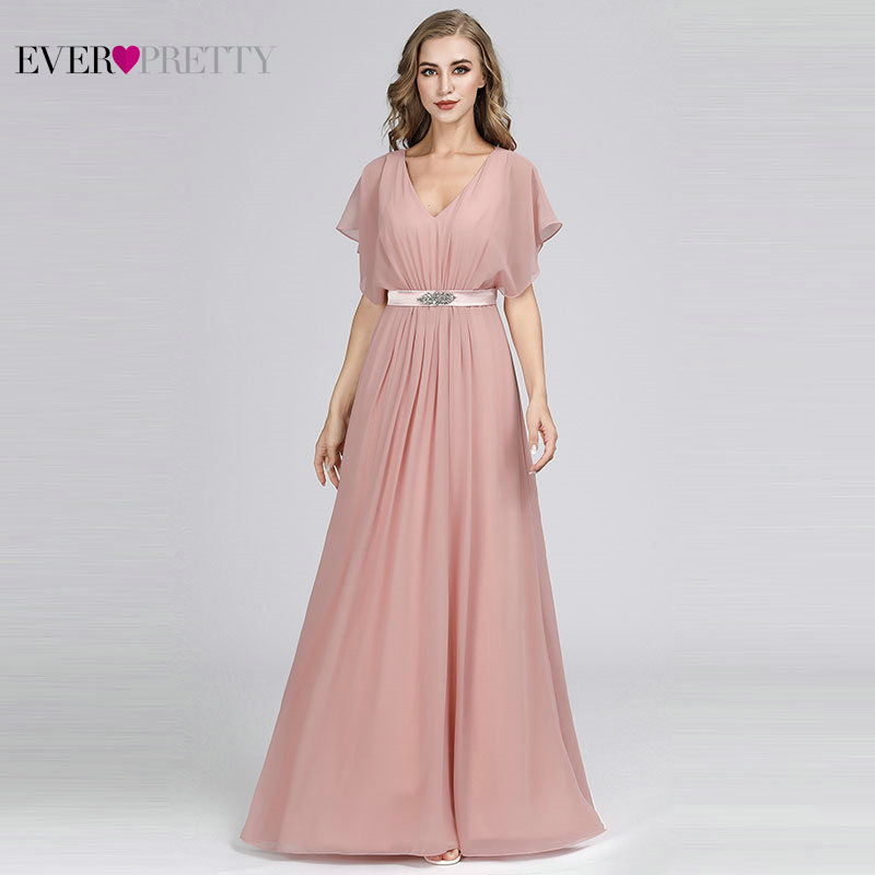 Pink   Evening     Dresses   Long Ever Pretty EZ07717 Elegant A-line Chiffon Short Sleeve V-neck Sash Beaded   Evening   Gown robe de soiree