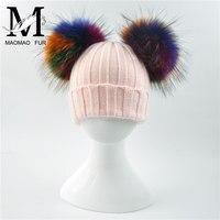 จริงขนหมวกฤดูหนาวเด็กถักหมวกใหญ่จริงแรคคูนขนPom Pomหมวกทารกที่อบอุ่นหนายืดถักที่มีสีสันขนPom...