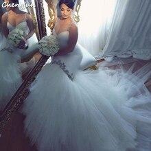 Chengjun Bride Spaghetti Strap Tulle Mermaid Wedding Dress