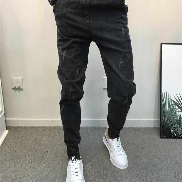 Autumn Spiritual Boy Black Jeans Men's Fashion Men's Bottom Trousers Nethong With A Wide Range Of Slim Trousers