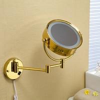 Vidric Bath Mirror 8 Round Wall Cosmetic Mirrors 3x 1x Magnifying Mirrors LED Brass Golden Folding Bathroom Makeup Light Mirro