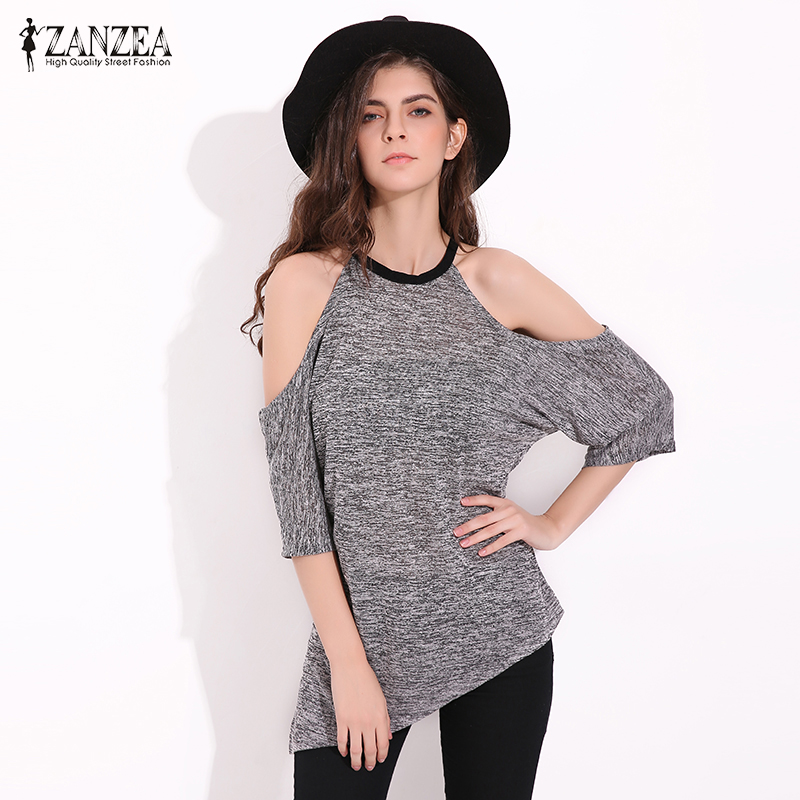 ZANZEA T Shirts Women 2018 Summer Sexy Off Shoulder Tops Tees Casual Loose T-shirt Half Sleeve Asymmetric Hem Blusas Hot Sale