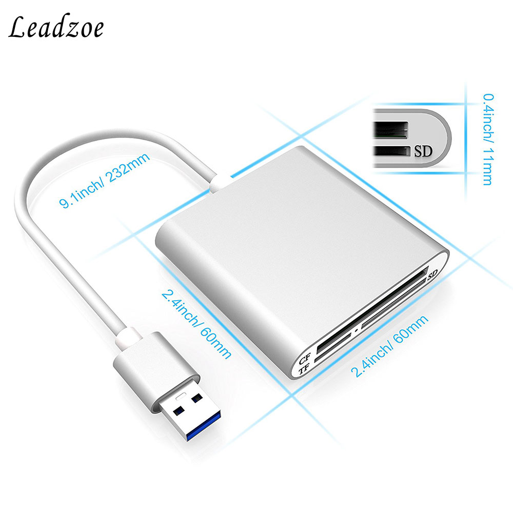 Leadzoe Aluminum Superspeed USB 3.0 Multi-in-1 3-Slot Card Reader for CF/SD/TF/Micro SD for