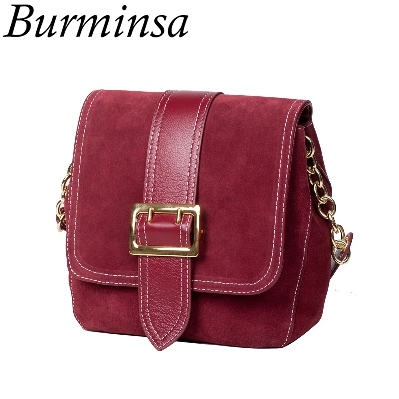 Burminsa Brand New Suede Genuine Leather Bags Simple Designer Shoulder Bags Ladies Hand Bags Female Crossbody Bag For Women 2017 genuine leather women messenger bags rivet small flap shoulder bag crossbody bags designer brand ladies female clutch hand bags