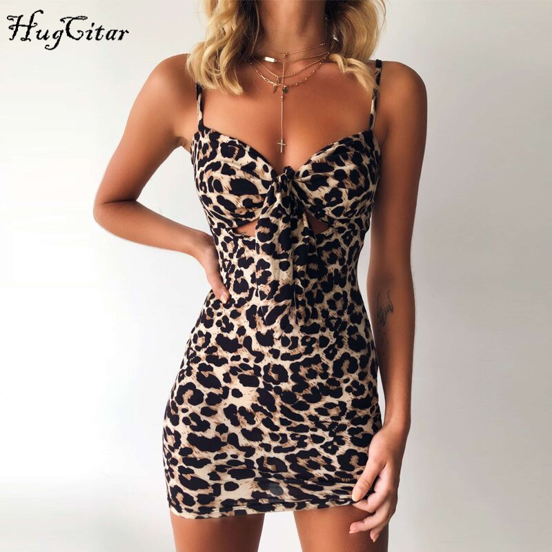 Hugcitar Spaghetti Straps Leopard Print Hollow Out High Waist Bodycon Sexy Mini Dress 2019 Autumn Women Sleeveless Party Clothes