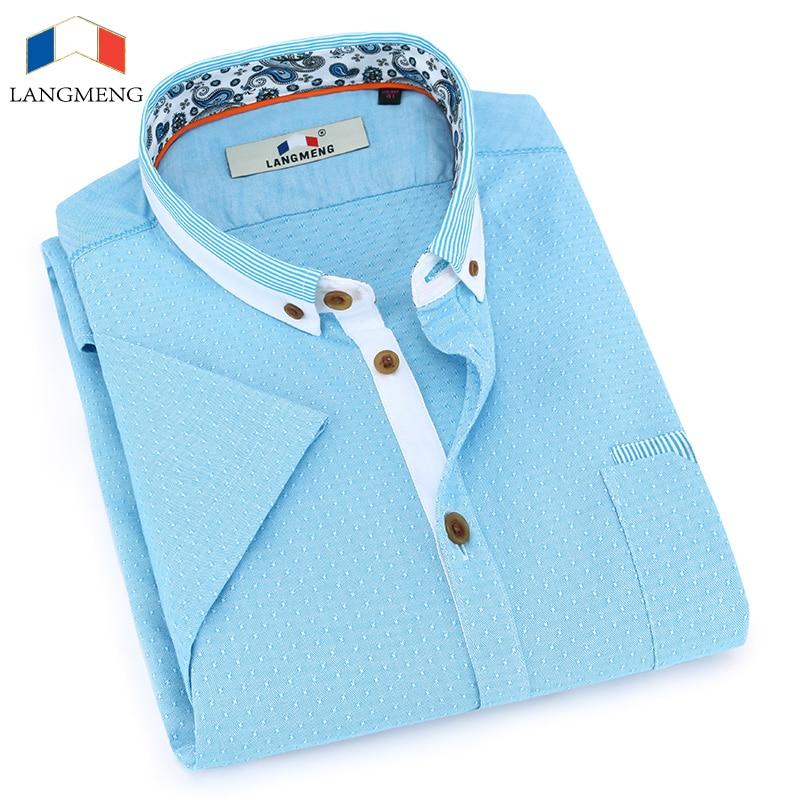 Langmeng 100 cotton casual shirt men social dress shirts for 100 cotton dress shirt