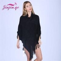Jinjin.QC women autumn knitted poncho solid elegant tassel capes echarpe foulard Femme pashmina shawls and wraps JJ2017111601