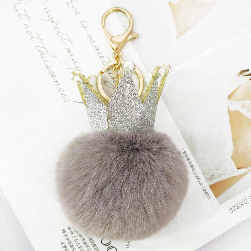 Bonito Saco de Lantejoulas Coroa Chaveiro Chaveiro Bola Pompons Fofo para As Mulheres Pingentes Chave Decoração Acessórios Do Telefone Mães Presentes