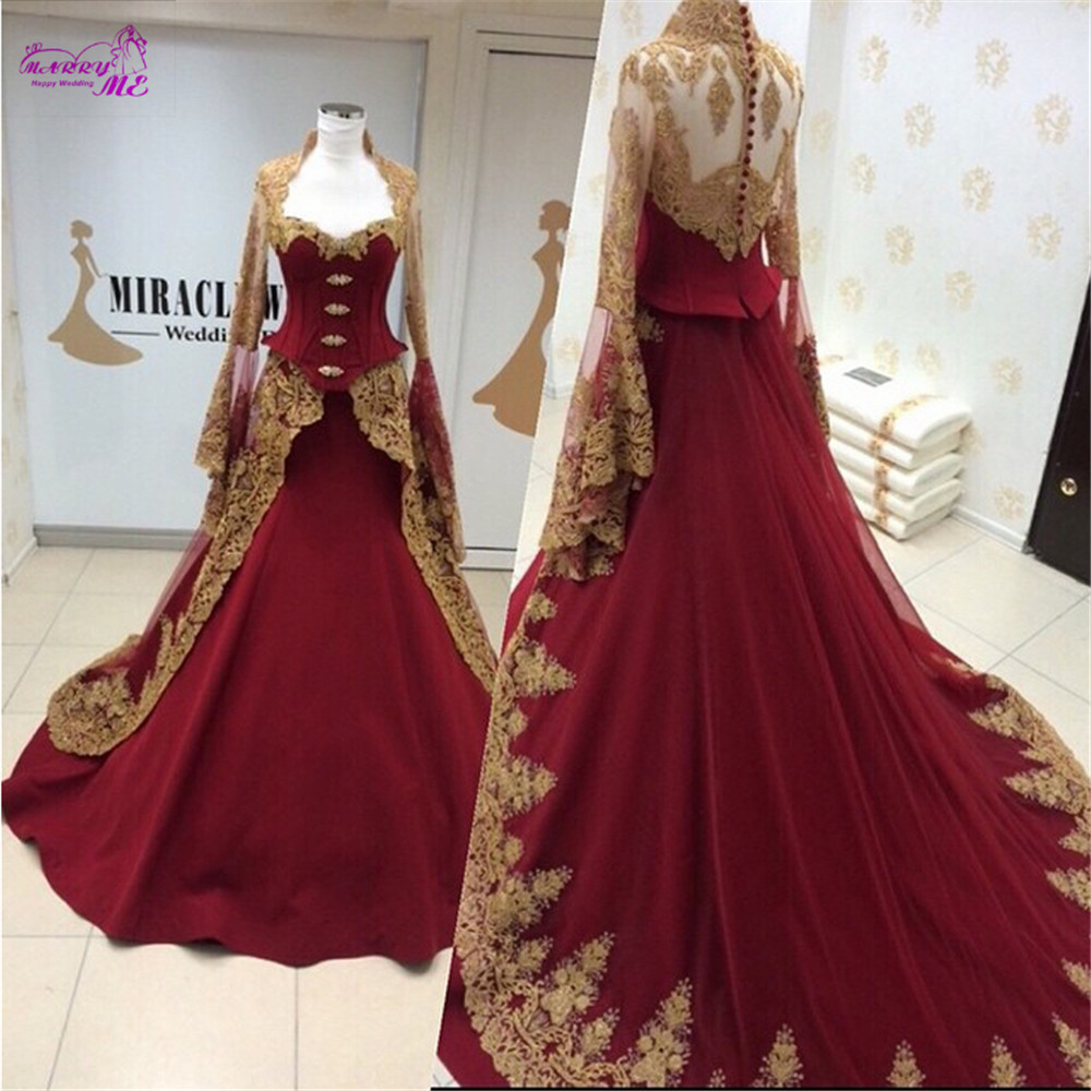 Long Sleeve Muslim Wedding Dress Luxury Arabic Lace