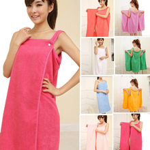 711fd640dd Womens Ladies Bath Robe With Hood Dressing Gown Wrap Drying Towel Wash  Skirt Towels(China