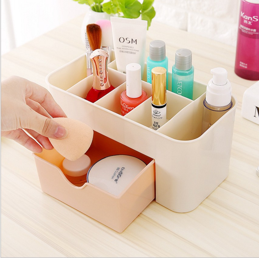 Jewelry Cosmetics Storage Box Drawer Plastic Office Desk Dressing Table Skincare Brush Lipstick Makeup Organizer