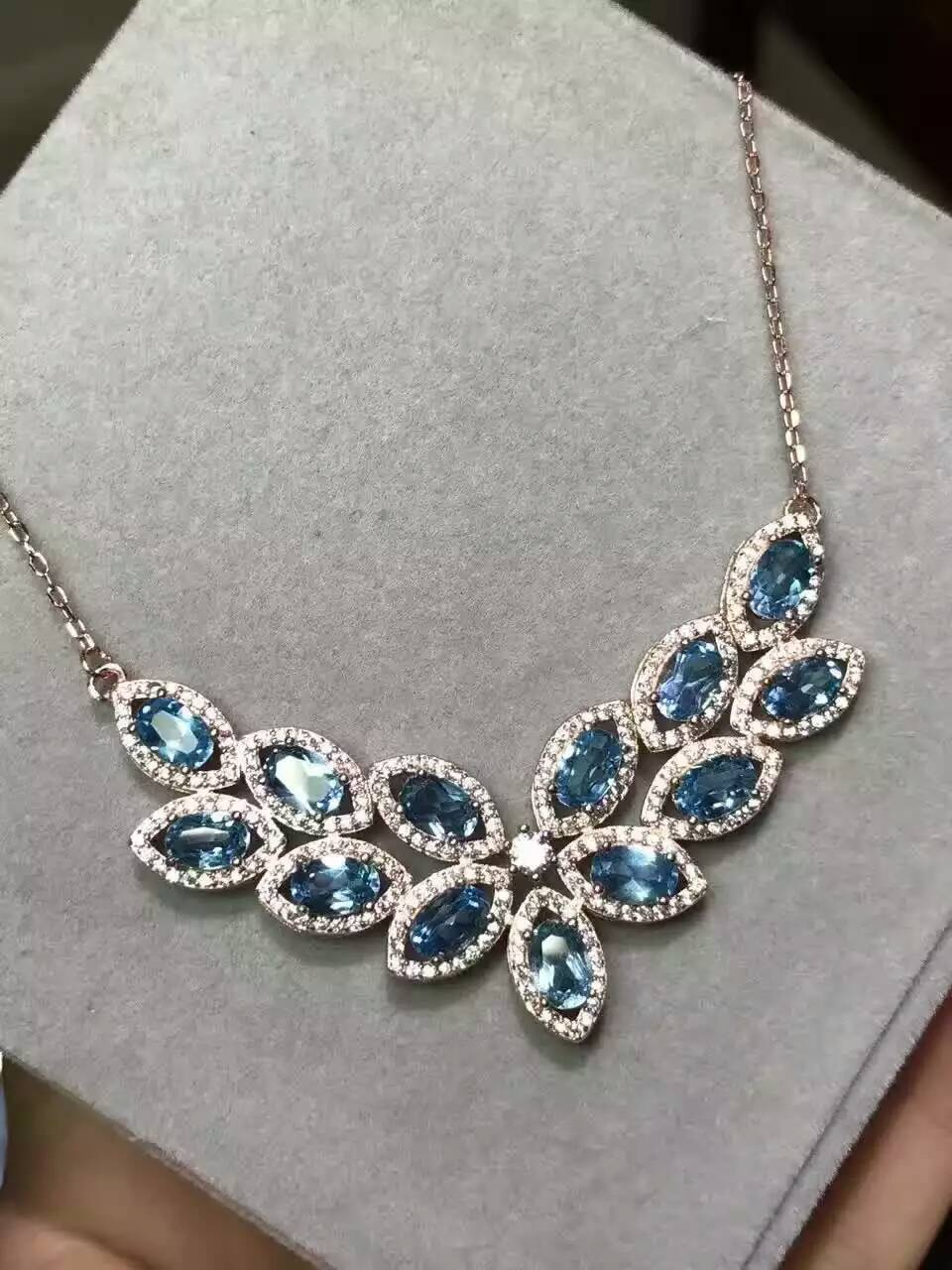 Natural blue topaz gem Necklace natural gemstone Pendant Necklace S925 silver trendy Luxury row Water droplets women Jewelry jzn0007 top quality blue opal gem silver necklace new trendy necklace for women fine jewelry gorgeous unisex chain necklace