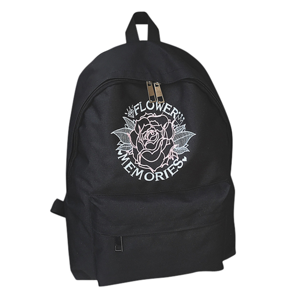 School bag embroidery - Women Girls Embroidery Flowers School Bag Travel Backpack Bag China Mainland