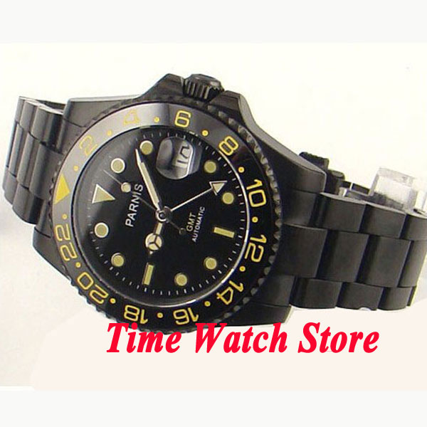 Parnis 40mm black dial GMT yellow marks PVD case sapphire glass Ceramic bezel Automatic movement men's watch 269 все цены