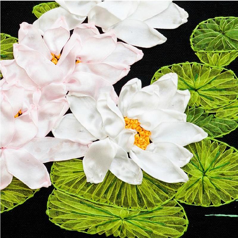 Flores de loto bordado cinta DIY Cruz puntada de bordado kit flor ...