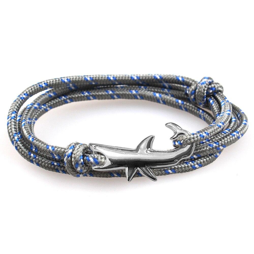 2019 Neuestes Design Mode Schmuck Multilayer Gun Farbe Haken Armband Shark Männer Echt Leder Wrap Armband Für Frauen & Männer Freundschaft Armbänder PüNktliches Timing