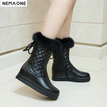 679146bc5911 New winter snow boots thick fur inside platform shoes woman wedges low heel  women ankle boots