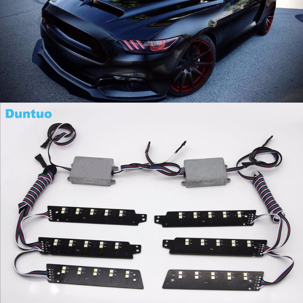 RGBW DRL Boards Multi Color Light LED Car Lights Running Light For 2015 2016 2017 Ford Mustang