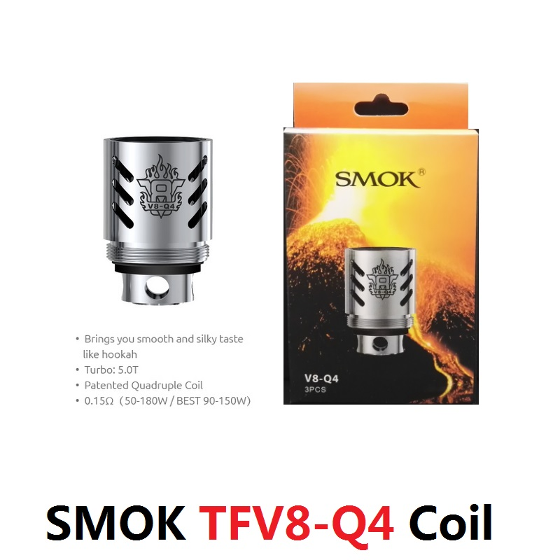 3PCS/L ORIGINAL SMOK TFV8 Q4 Coil 0.15OHM Quadruple Organic Cotton Coils E Cigarette Vaporizer V8-Q4 стоимость