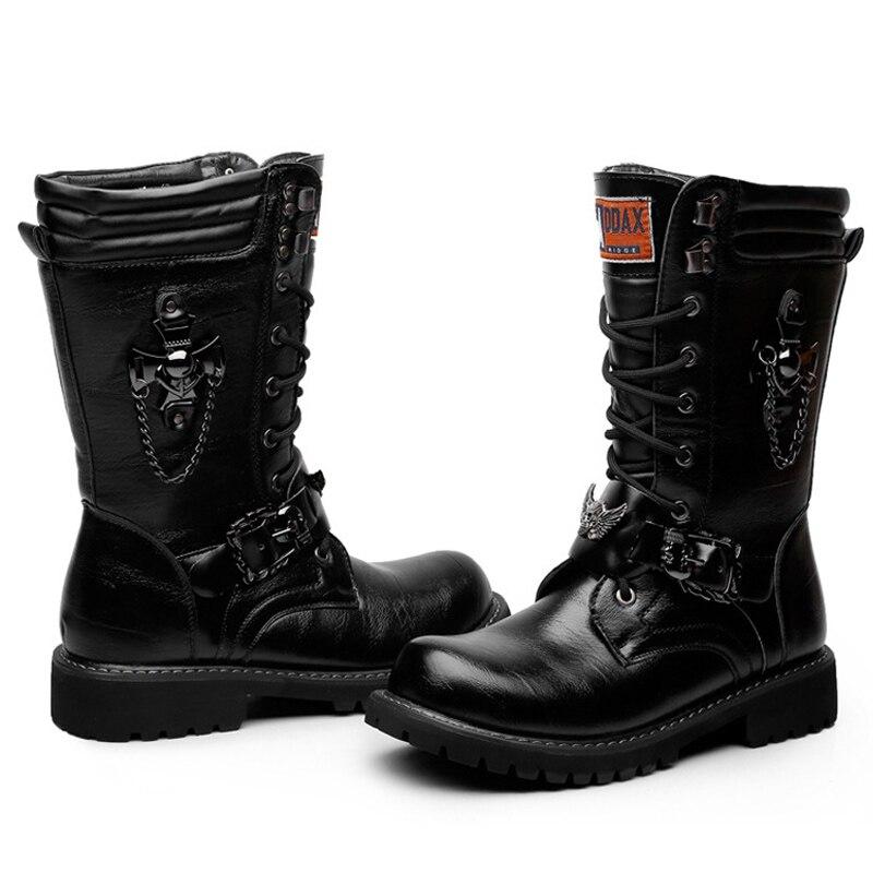 Métal Chaîne Militaire Boucle En Armée Punk Mâle Hommes Oudiniao Bottes Dentelle Moto Combat Crâne Noir Up Rock Chaussures De htsrxQCd
