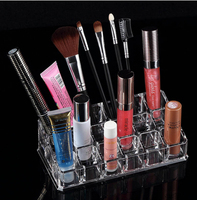 Clear Acrylic 18 Grid Cosmetic For Lipstick Lip Gloss Mascara Nail Polish Holder Box Tray Display