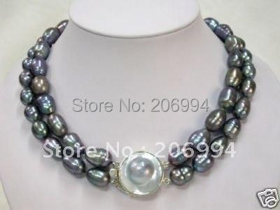 6ecb86f78eee Hecho a mano hermoso de agua dulce genuino negro perlas collar de perlas de  bisutería joyería