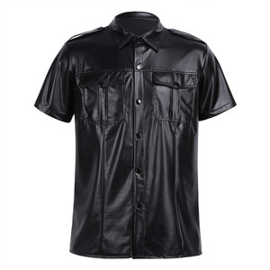 Image 1 - Męskie seksowne miękkie faux skórzane koszulki męskie czarne koszulki obcisłe koszule podkoszulki jako mundur policyjny topy z kołnierzem w dół