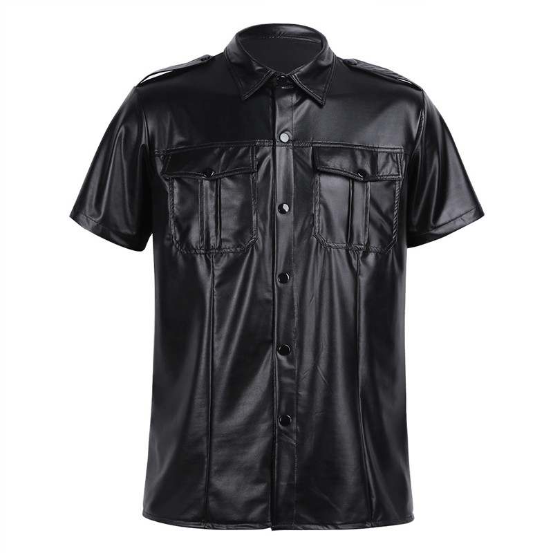 Mens sexy Soft faux leather t shirts Male black Tees tight shirts Undershirts As Police Uniform Shirt Tops with Down Collar|T-Shirts| |  - title=