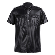 Mens sexy Soft faux leather t shirts Male black Tees tight shirts Undershirts As Police Uniform Shirt Tops with Down Collar