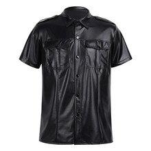 メンズセクシーなソフトフェイクレザー t シャツ男性黒 tシャツタイトなシャツ肌着として警察制服シャツダウントップス襟