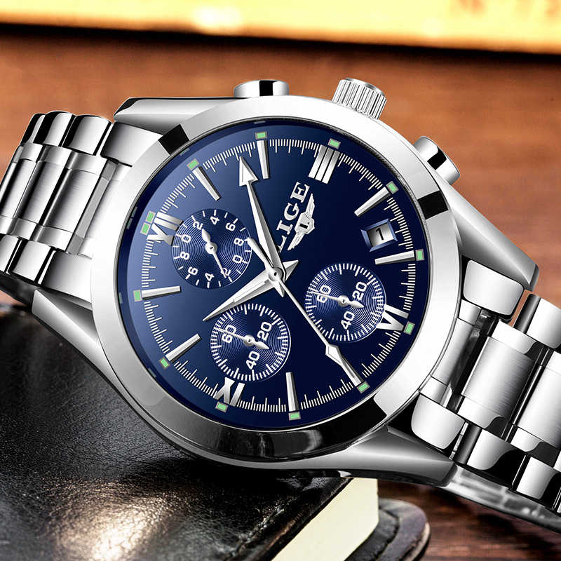 LIGE New Mens Watches Top Brand Luxury Fashion Business Quartz Watch Men Waterproof Full Steel Clock Male Dress Wristwatches+box