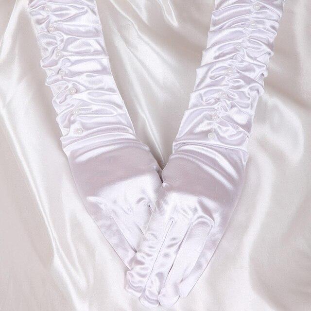 U-SWEAR 2019 New Arrival palec kobiety rękawiczki ślubne perły zroszony długości łokcia tanie akcesoria ślubne Guantes De Novia