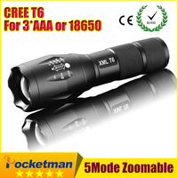 2017 E17 CREE XM-L T6 3800Lumens cree led Torch Zoomable cree LED Flashlight Torch light For 3xAAA or 1x18650 Free shipping ZK96