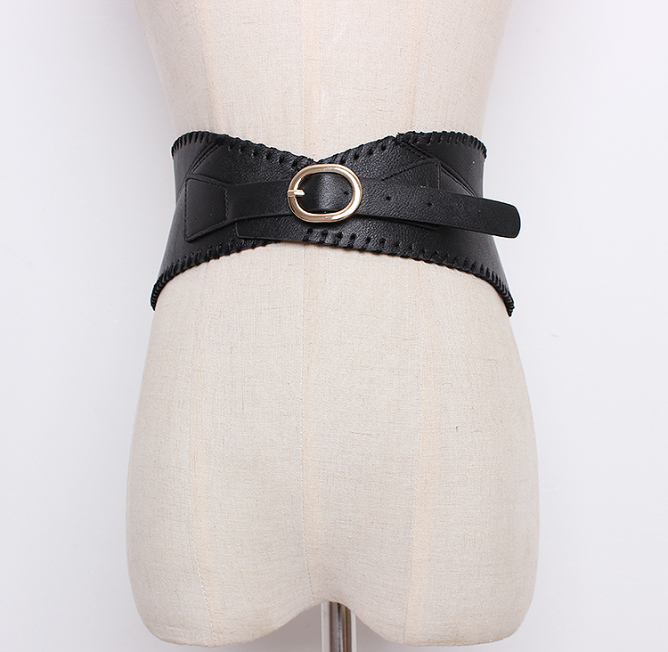 Women's Runway Fashion PU Leather Cummerbunds Female Dress Corsets Waistband Belts Decoration Wide Belt R1363