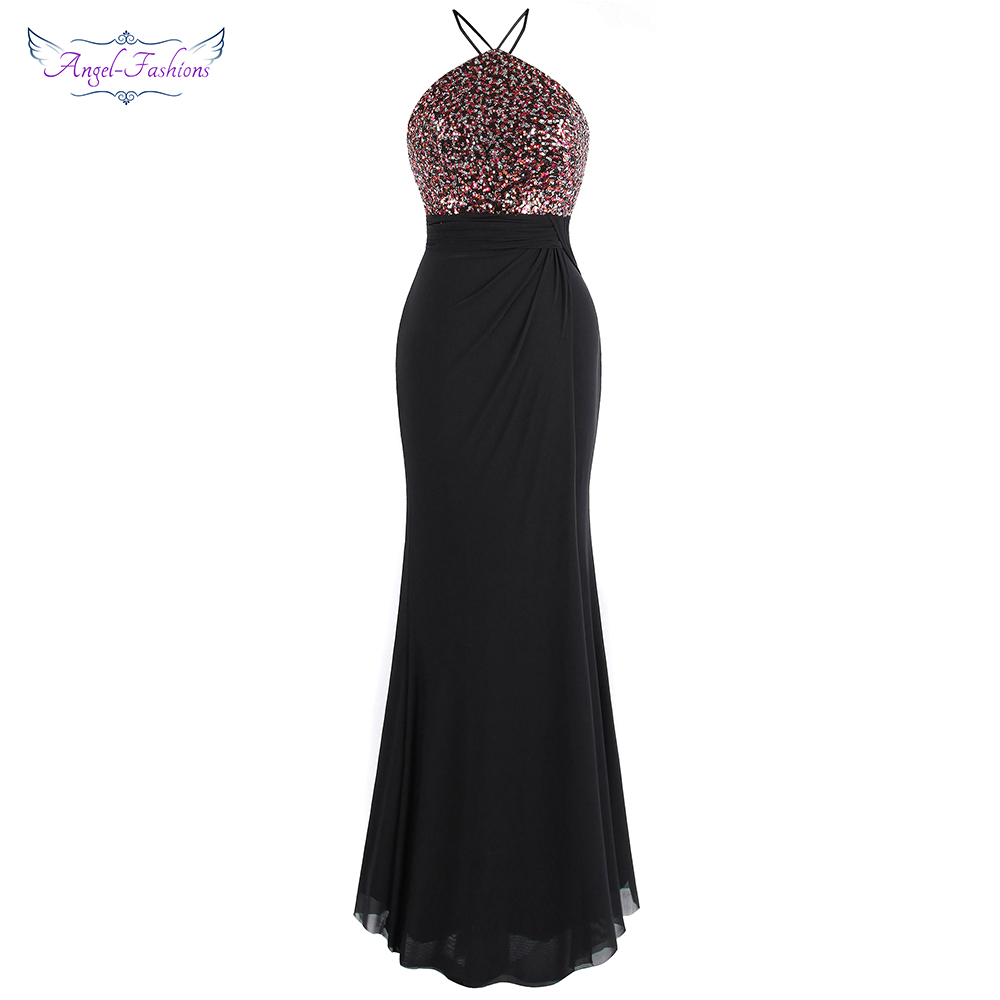 Angel-fashions Women's Halter   Evening     Dress   Long Backless Sequin Pleated Party Gown Black 422