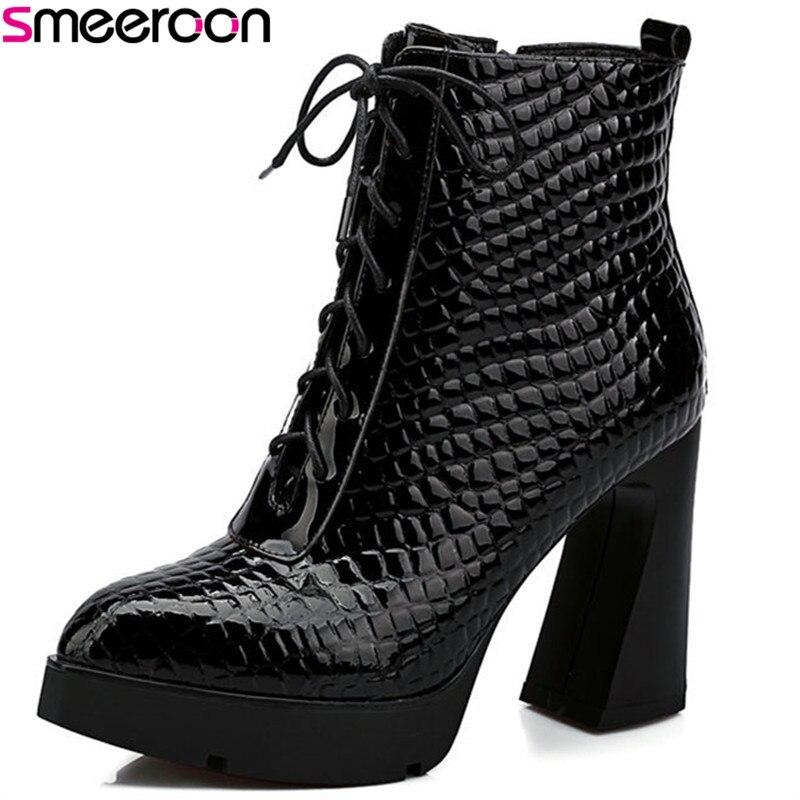 Smeeroon mode super hauts talons sans lacet + croix liée vache en cuir véritable bottes automne hiver bottes pour femmes bottines noir