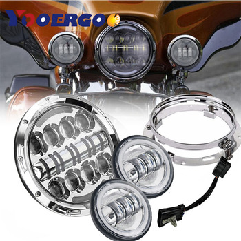 "7 Inch Black Motorcycle  Led Headlights White Halo Angel Eye&DRL+2pcs 4.5""Inch Led Fog Lights Halo Ring DRL"
