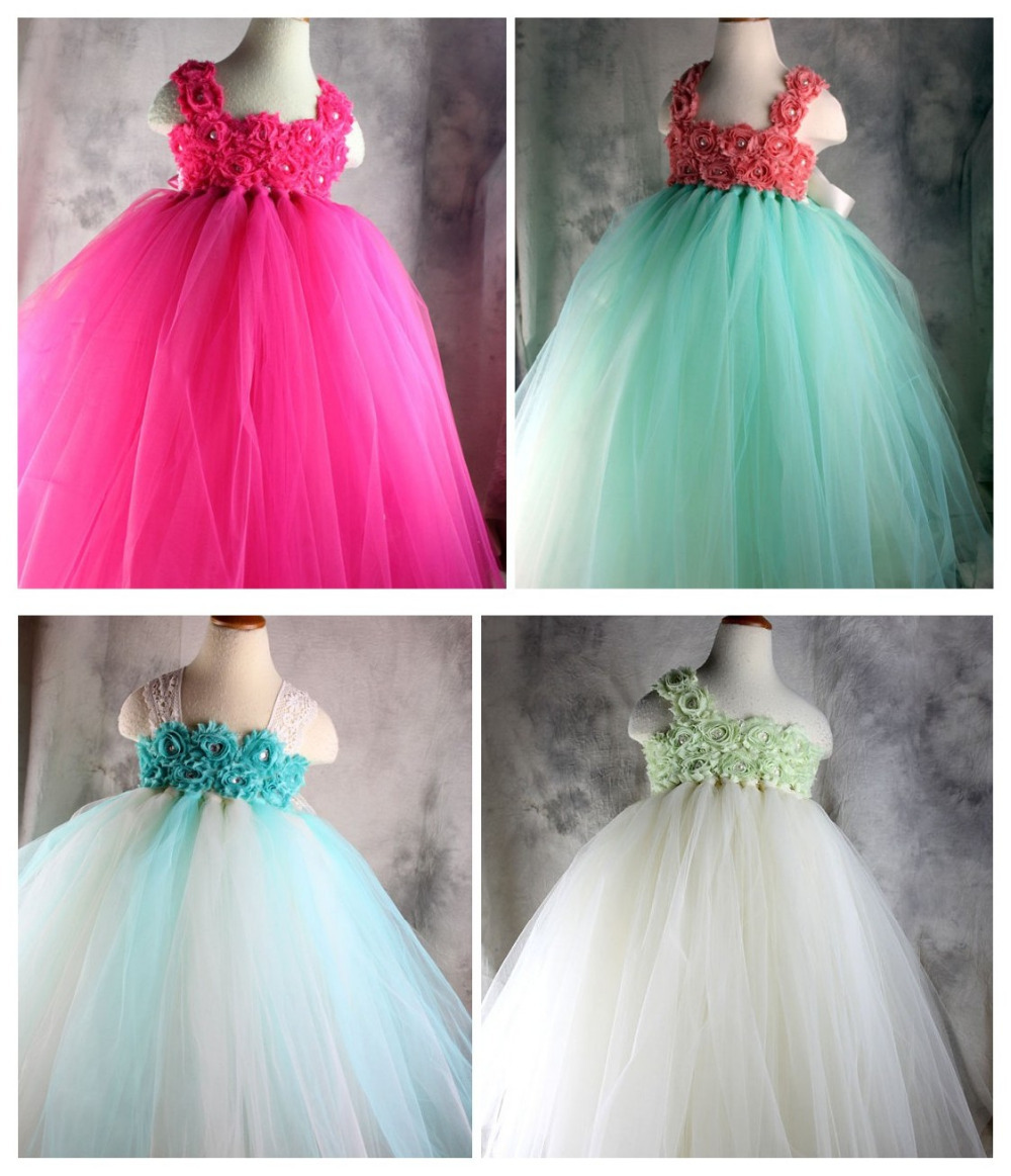 Perfect Hot Pink And White Flower Girl Dresses Component Images