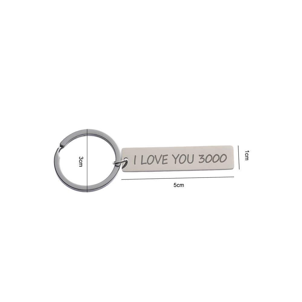 I Love You 3000 брелок для ключей металл кольцо для жены, девушки, бойфренда, подарок на день отца подарок