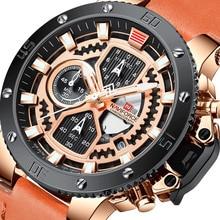 Reloj NAVIFORCE resistente al agua para hombre, lujoso reloj de pulsera de cuarzo con visualización de fecha y semana, reloj Masculino