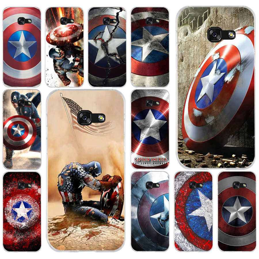 218FG Marvel Hero Captain America  Soft Silicone Tpu Cover phone Case for Samsung a3 2016 a5 2017 a6 plus a7 a8 2018 s6 7 8 9