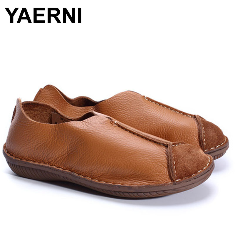 YAERNI Hand-made Flat Shoes Women Genuine Leather Slip on Loafers Ladies Moccasin Shoes Flat Mori girl FootwearYAERNI Hand-made Flat Shoes Women Genuine Leather Slip on Loafers Ladies Moccasin Shoes Flat Mori girl Footwear