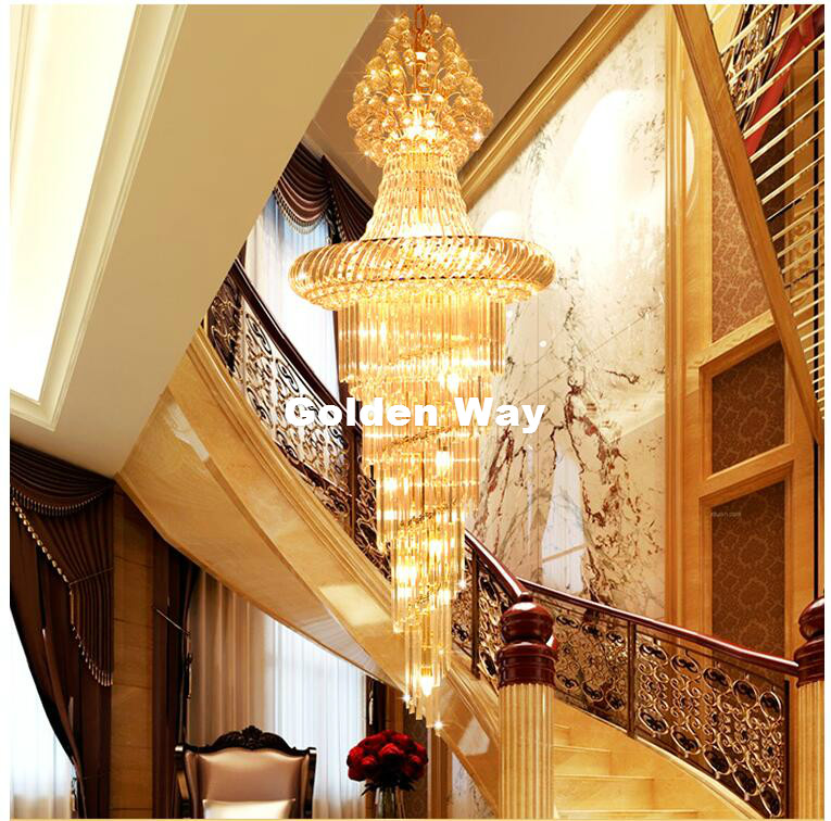 Free Shipping Golden Color Hotel Staircase Crystal Chandelier Modern Pendant Lamp LED Bulb Hotel Chandelier AC 100% Guaranteed modern pendant crystal chandelier 110v 220v 28w pure white 71 60cm free shipping