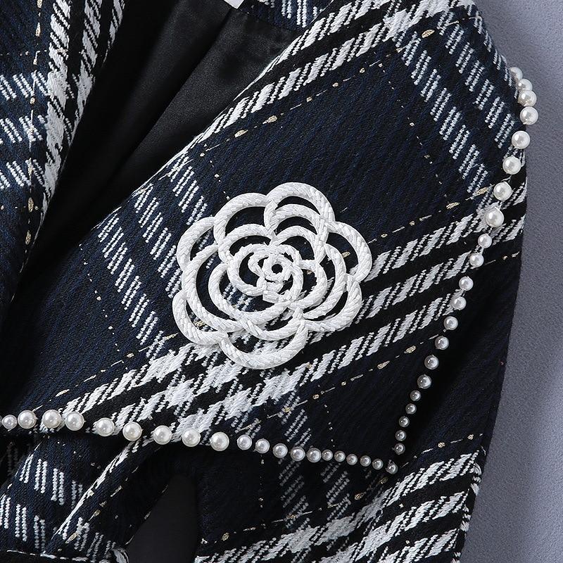 Une 2018 Plaid Femmes Gamme Haut Hiver Laine Manteau Perle De Chaud 180904jt01 Broche Rayé Avec 7qZdxR
