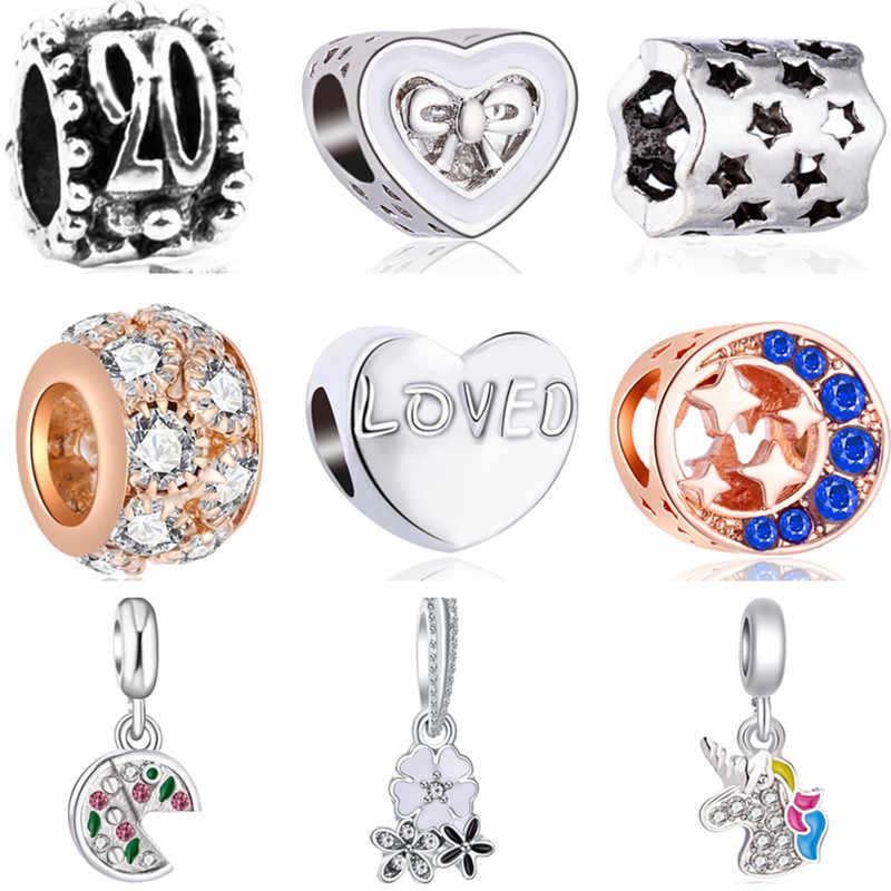 Estilo simples Pequena Bola Urso Unicórnio Flores Corações Encantos De Cristal Beads Fit Pandora Pulseiras & Pulseiras para Mulheres Pulsera DIY