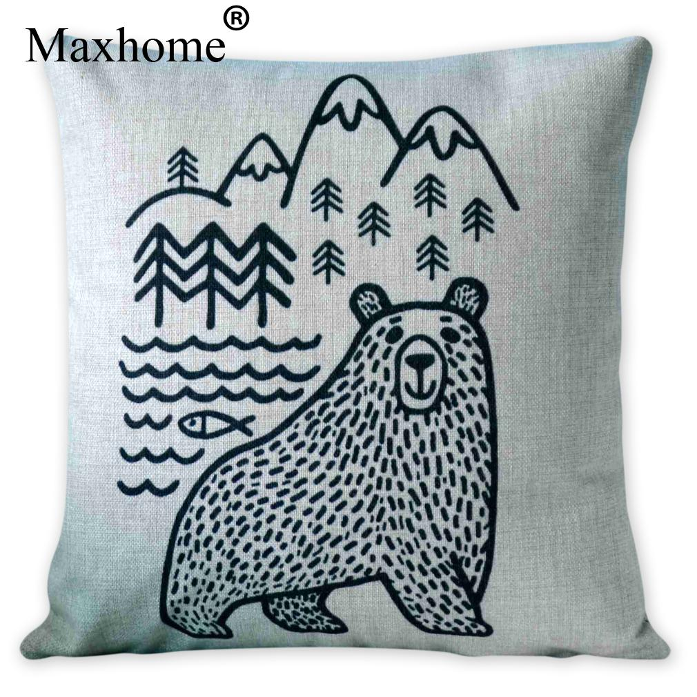 Scandinavian Black And White Pillowcase Original Illustrations Bear Cushions Decorative Pillows Home Decor Sofa Throw Pillow