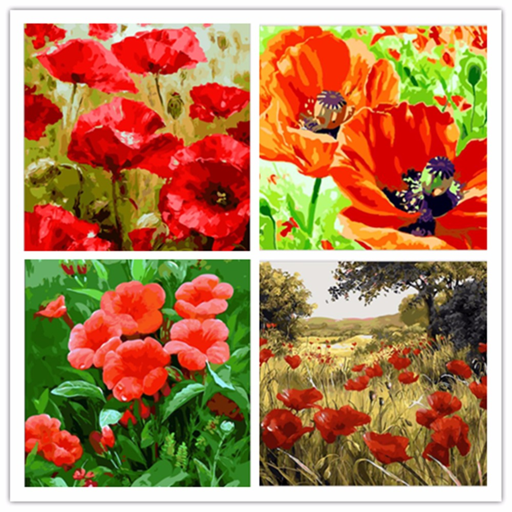 Yunxi art New wall digital oil painting by numbers diy home decoration craft paint on canvas picture Wild red pony flower RS255