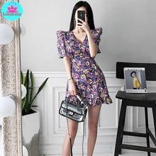 цена 2019 summer new Korean temperament V-neck slim tie with waist printed ruffled fashion dress