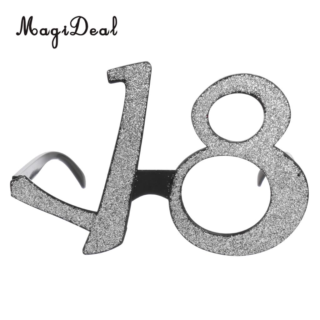 8571c6dd747 MagiDeal Novelty Age18 Birthday Party Glitter Glasses Eyeglasses 18th  Silver Gold-in Party DIY Decorations from Home   Garden on Aliexpress.com